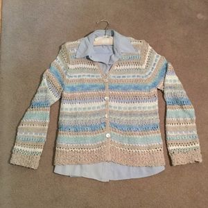 Vintage ribbon crochet button-up V-neck cardigan